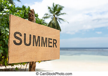bois, été, poste, plage