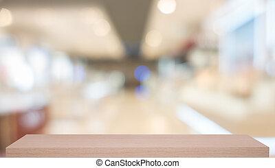 bois, étagère, commodité, defocused, magasin