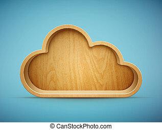 bois, étagère, nuage