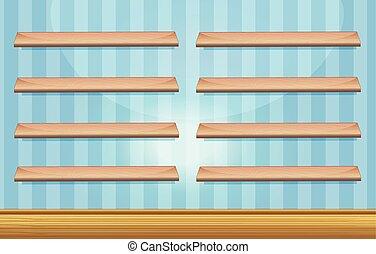 bois, étagères, salle, plancher