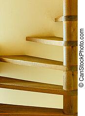 bois, étapes, closeup, escalier