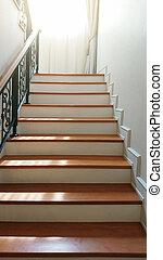 bois, étapes, escalier