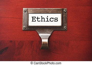 bois, étiquette, brillant, fichier, éthique, cabinet