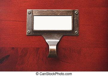 bois, étiquette, brillant, fichier, vide, cabinet