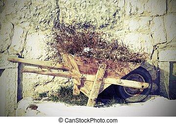 bois, abandonnés, brouette