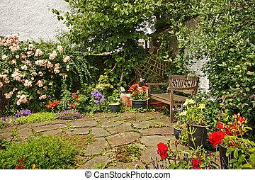 bois, agréable, banc jardin