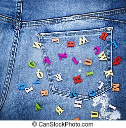 bois, alphabet, anglaise, lettres, multicolore