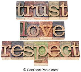 bois, amour, respect, type, confiance