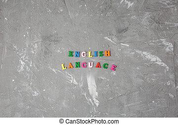 bois, anglaise, coloré, inscription, lettres