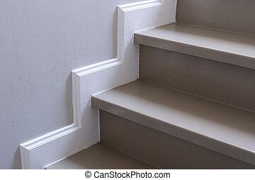 bois, appartement, escalier