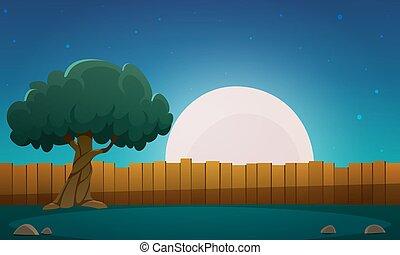 bois, arbre, barrière