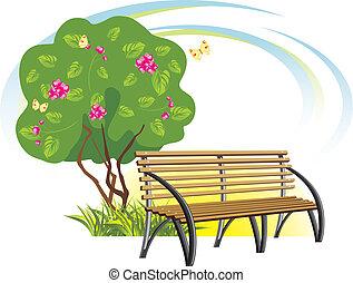bois, arbre fleurissant, banc