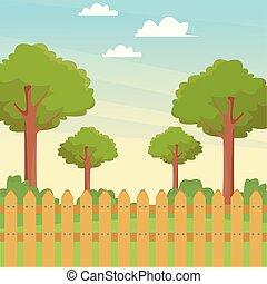 bois, arbres, parc, barrière