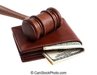 bois, argent, isolé, portefeuille, fond, marteau, blanc
