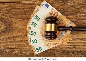 bois, argent, marteau, juge, table., pile