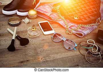 bois, arrière-plan., accessoires, femme, mode