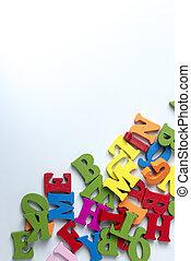 bois, arrière-plan., blanc, lettres, coloré