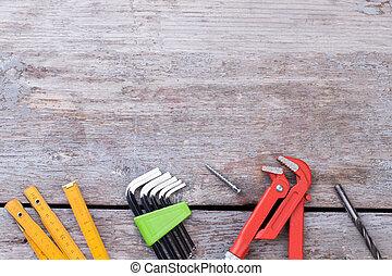 bois, arrière-plan., construction, divers, outils