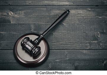 bois, arrière-plan., juge, noir, marteau