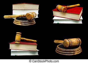 bois, arrière-plan., livre, noir, juge, marteau