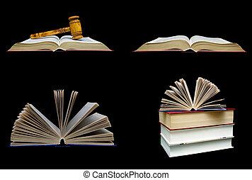 bois, arrière-plan., livres, noir, juge, marteau