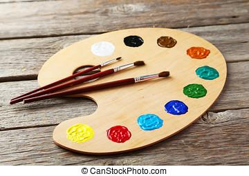 bois, art, palette, à, peintures, sur, gris, bois, fond