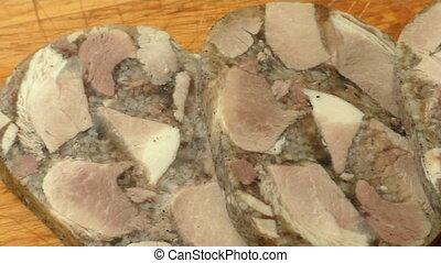 bois, aspic, viande coupe, planche