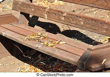 bois, automne, banc