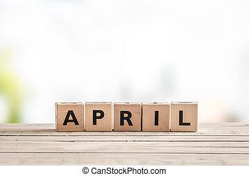bois, avril, cubes, signe