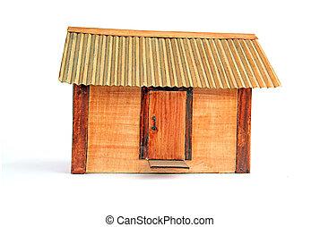bois, bâtiment, modèle