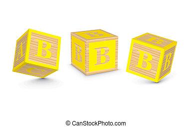 bois, b, vecteur, blocs, lettre