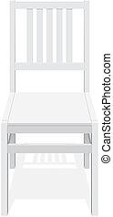 bois, back., blanc, chaise, classique