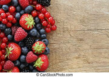 bois, baie, planche, fruits