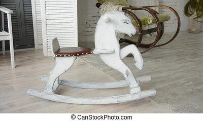 bois, balancer, vieux, cheval
