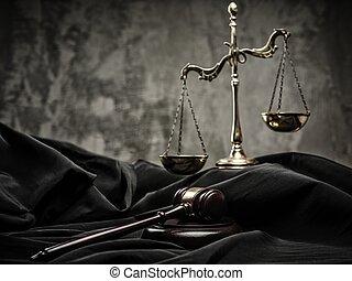 bois, balances, juge, marteau, manteau