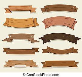 bois, bannières, rubans, dessin animé