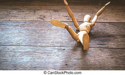 bois, bas, tomber, mannequin