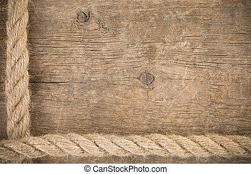 bois, bateau, cordes, frontières