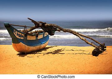 bois, bateau pêche