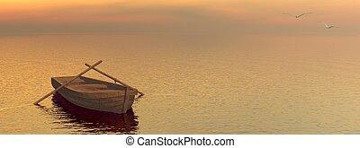bois, -, bateau, render, 3d