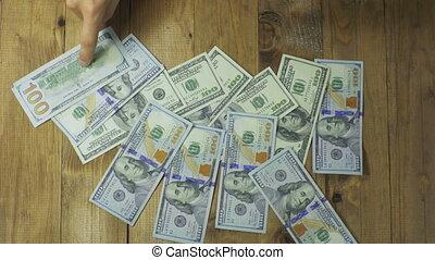 bois, billets banque, dollar, table