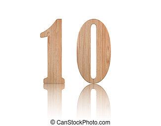 bois, blanc, 10, nombre
