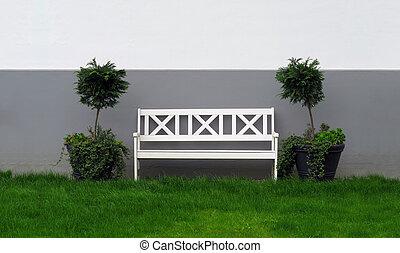 bois, blanc, banc jardin