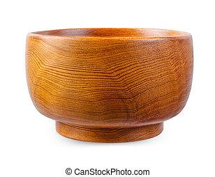 bois, blanc, bowl., isolé, fond
