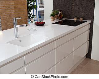 bois, blanc, moderne, conception, cuisine