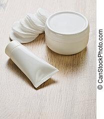 bois, blanc, objets, fond