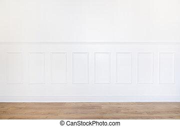 bois, blanche salle, vide, plancher
