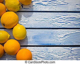 bois, bleu, oranges, table