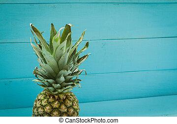 bois, bleu, table, ananas