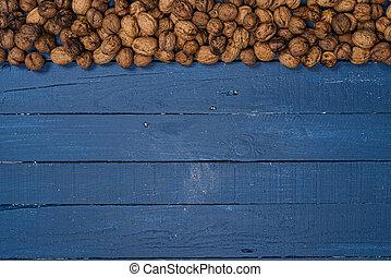 bois, bleu, table, noix